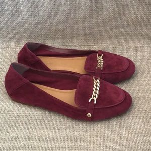 Topshop Loco Chain suede loafers gold burgundy 9